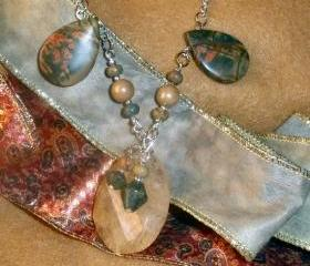 Gemstone necklace beaded - Coffee Quartz and Picasso Jasper
