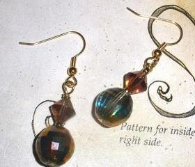 Swarovski crystal earrings in Mauve