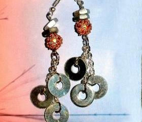Steampunk Rocker earrings ON SALE metal washers and sterling chain
