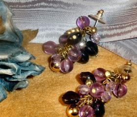 GORGEOUS cluster earrings in Extravagant Purple FREE SHIPPING
