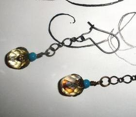 long dangle earrings amber and turquoise colors