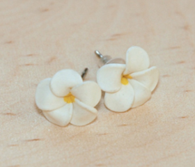 White Frangipani /Kemboja Flower Ear Studs