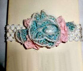 Baby girl headband - white lace headband blue and pink lace flowers - shower gift