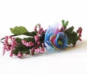 Rose headband with luscious sheer ribbon multicolor rose bridal wedding springtime