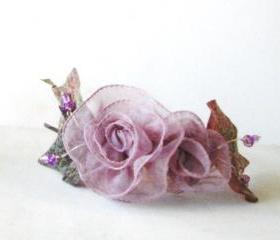 Ribbon Rose headband with light violet ribbon roses