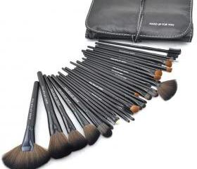 New 32 pcs Makeup Brush Kit Makeup Brushes with Leather Case - Black