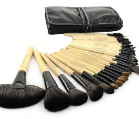 32 pcs Makeup Brush Kit Makeup Brushes with Leather Case - Wood