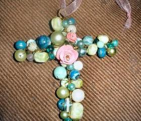Beaded cross ornament large pendant polymer clay roses vintage beads
