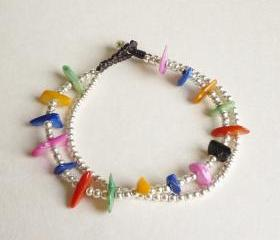 Rainbow Bracelet in Silver - Double Strands of Colorful Dyed Mother of Pearl Chip Beads and Silver Plated Beads with Wax Cord Bracelet