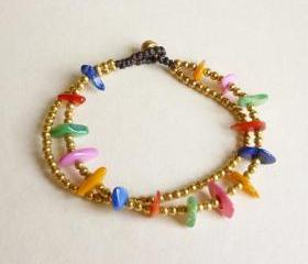 Rainbow Bracelet in Gold - Double Strands of Colorful Dyed Mother of Pearl Chip Beads and Brass Beads with Wax Cord Bracelet