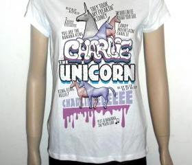 Charlie the unicorn white tshirt for women humor tee