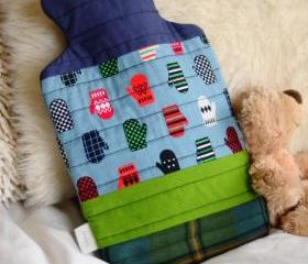 Hot Water Bottle - Patchwork Hot Water Bottle - Blue & Green - Hottie - 'Inbetween Days'