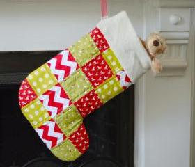 Stocking - Patchwork Stocking - Red and Green - 'Run Rudolph Run'