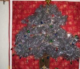 Silver Christmas Tree with Ornamental lights Wall Hanging
