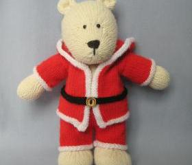 Christmas polar bear knitting pattern - fun to knit xmas teddy with santa outfit, pdf pattern