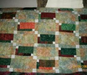 Batik Fall and Christmas Color Lap Quilt