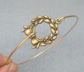 Flower Brass Bangle Bracelet Style 11