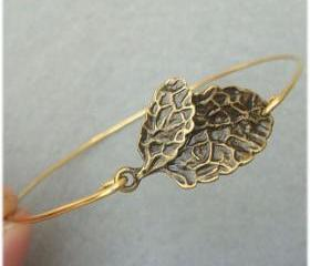 Leaf Brass Bangle Bracelet