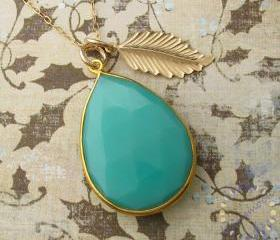 CHALCEDONY PEAR Gem Pendant: 24k GOLD vermeil necklace