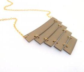 Minimal long geometric necklace/Gold plated long chain/Rubber Jewelry