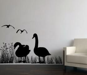 Wall Decal Geese in Reed Grasses Mural Vinyl Wall Decal 22230
