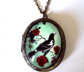 Vintage Style Brass Locket Original Artwork