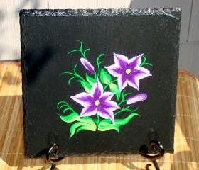 Black Trivet/ Spoon Rest With Painted Flowers
