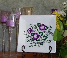 Square Decorative/ Ornamental/ Display Plate with Painted Flowers