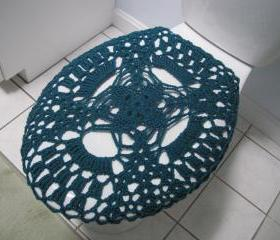 Crochet toilet seat cover or crochet toilet tank lid cover - real teal (TSC14 or TTL12)