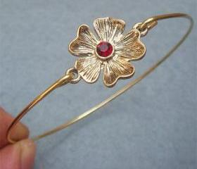 Flower Brass Bangle Bracelet Style 8
