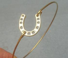 Horseshoe Brass Bangle Bracelet