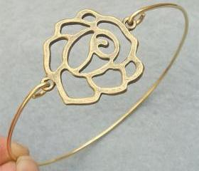 Rose Flower Bangle Bracelet Style 5