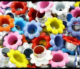  100pcs Mixed Colors Flowers EYELET Scrapbooking CARD Hole LeatherCraft E099