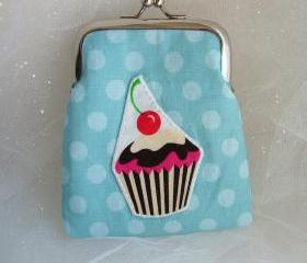 SALE - Blue Polka Dot Cupcake Coin Purse