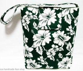 Hibiscus Canvas Bag - Dark Green / Hobo Purse/ Slouchy Bag/ Market Tote