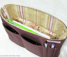 Inner Bag Organizer - Brown Stripe / Zipper Pocket