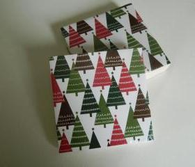 Christmas Tree Print Tile Coasters