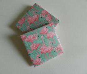 Pink Flamingo Print Tile Coasters