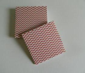 Orange and White Chevron Print Tile Coasters
