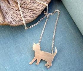 Sterling silver cat necklace, Animal pet jewelry