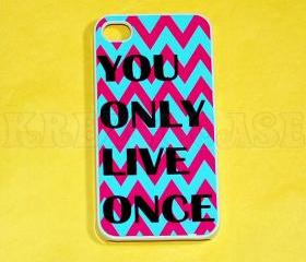 iphone 4 Case, iPhone 4s case You Only live Once Chevron Pattern iPhone 4 Cases, Iphone 4s Cover,Case for iPhone 4
