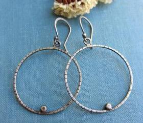 Oxidized sterling silver hoop earrings, simple minimalist.