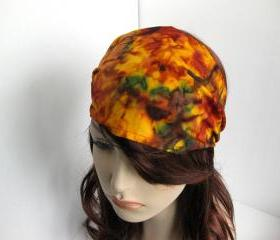Fall Harvest Bandana Autumn Colors Batik Headband Gypsy Wrap Women's Brown Orange Burgundy Green Cotton Print Dreadband