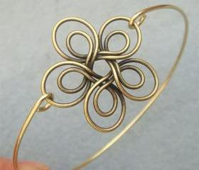 Flower Brass Bangle Bracelet Style 6
