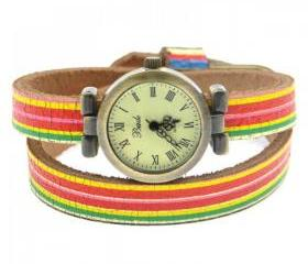 Cute Rainbow Candy Color Leather Wrap Watch