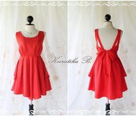 A Party V Shape - Prom Party Cocktail Bridesmaid Dinner Wedding Night Dress Asymmetric Hem Bright Red Sweet Gorgeous Glamorous Dress