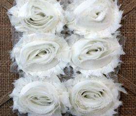 Six Shabby Chic Flowers - Marshmallow (White)