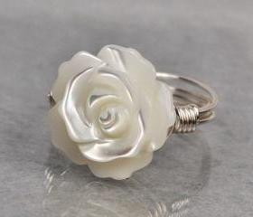 Wire Wrapped Sterling Silver Ring with White Mother of Pearl Carved Rose/Flower- Custom Made to Size