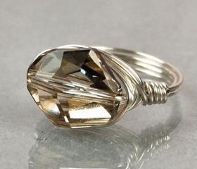 Sterling Silver Wire Wrapped Ring with Silver Shade Crystal- Custom Made to Size