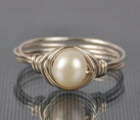 Pearl Sterling Silver Ring - Wire Wrapped White Freshwater Pearl- Custom Made to Size